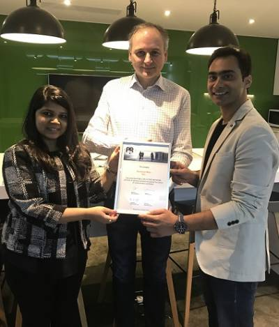 Skateboard Media Co-Founders Manas Mrinal & Shailaja Rao with Veit Mathauer, Chairman of the Board of PRN