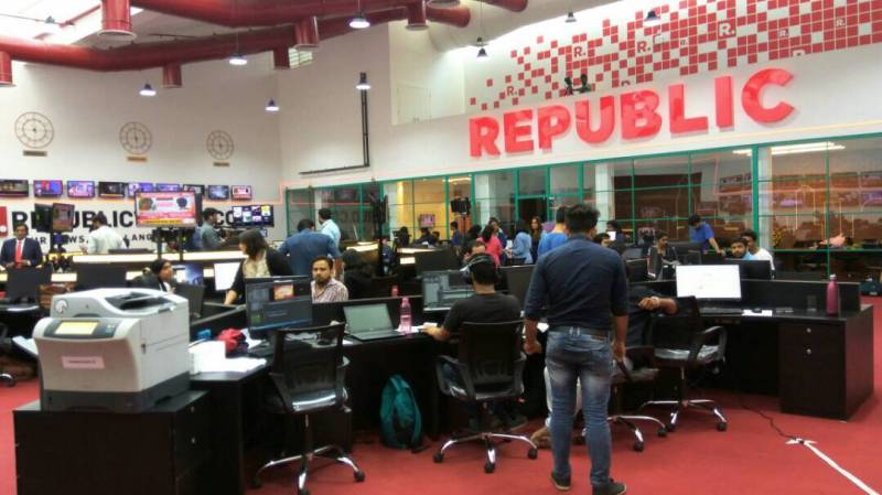 reporting from the newsroom of republic tv on day of launch